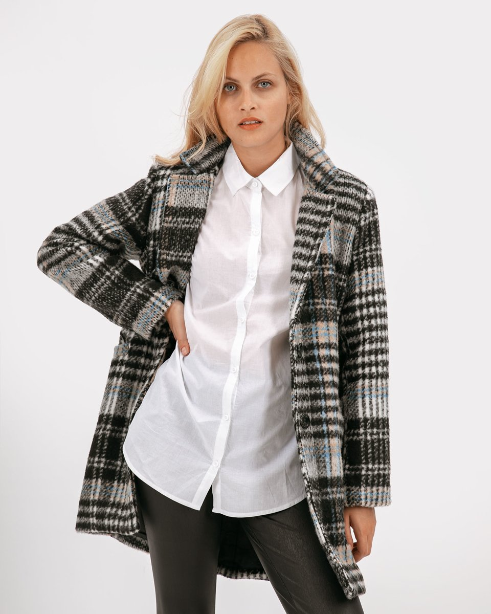 "Picture of Women's Check Coat ""Semi"" in Black"