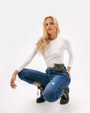 Γυναικείο Denim Παντελόνι F-DM173N με Ζώνη και Τσαντάκι