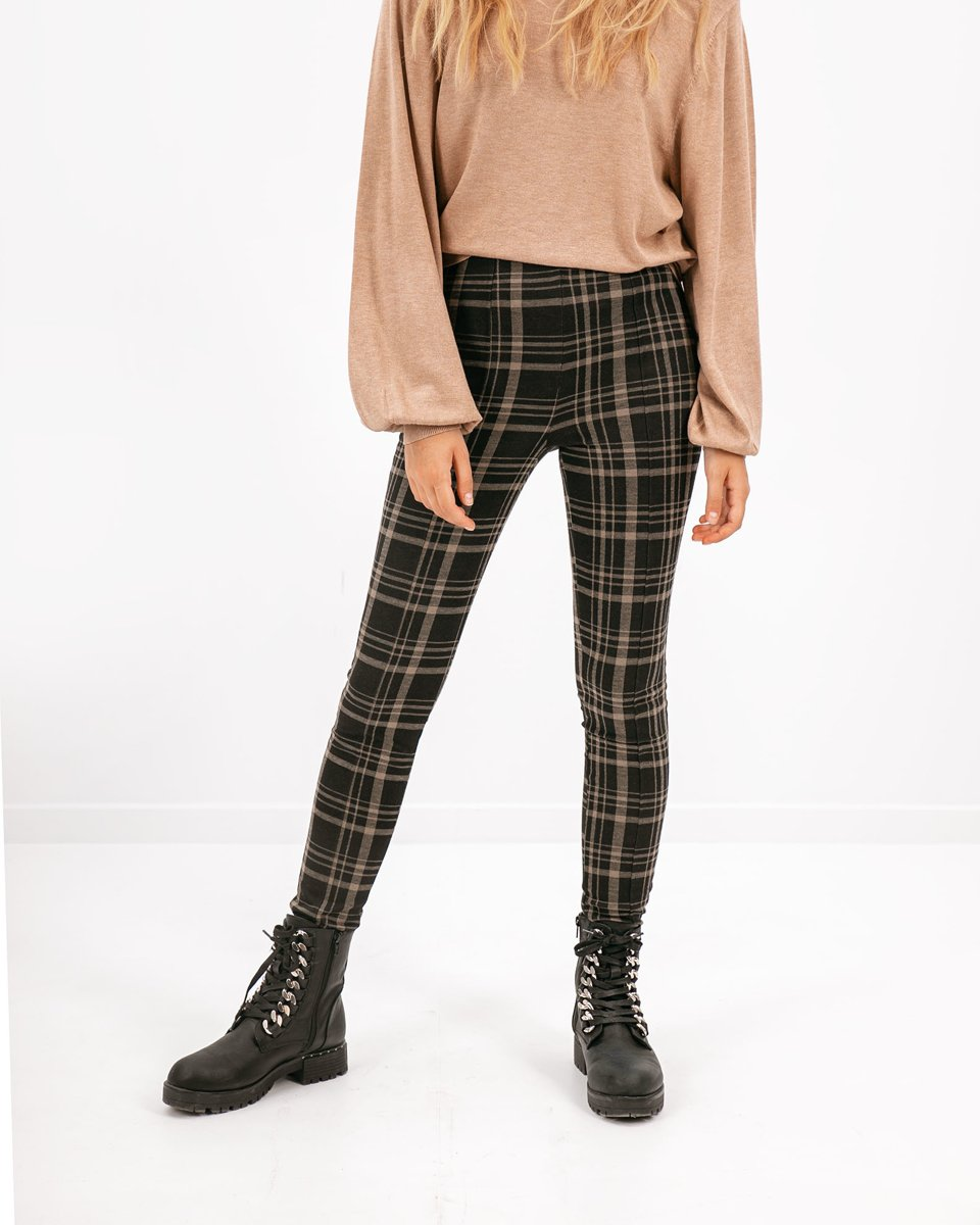 """Picture of Mid-waist Checked Trousers """"Gloria"""" in Black"""