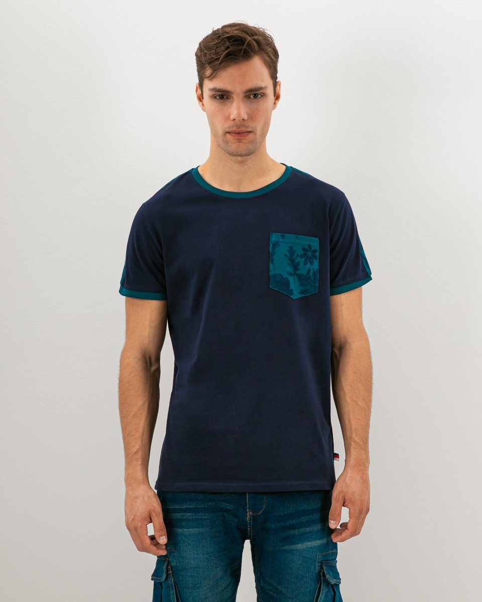 "Picture of Men's Short Sleeve T-Shirt ""Leaves Print"" in Blue Dark"