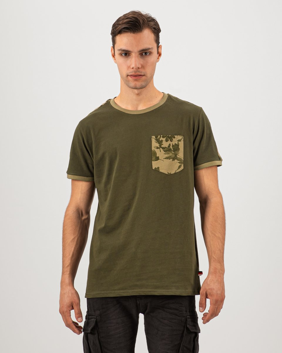 """Picture of Men's Short Sleeve T-Shirt """"Leaves Print"""" in Green"""