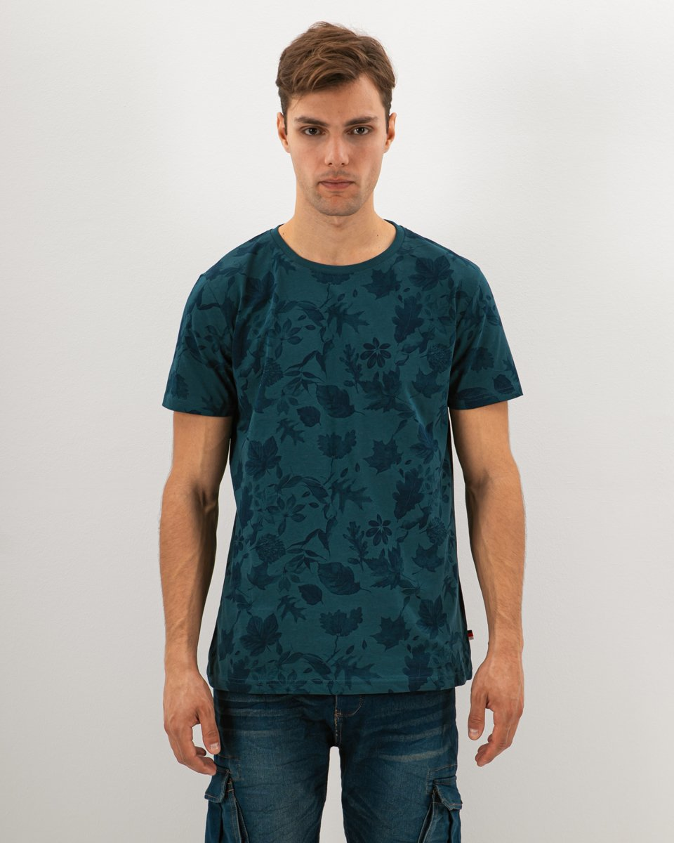 "Picture of Men's Short Sleeve T-Shirt ""All Over Leaves Print"" in Blue Dark"