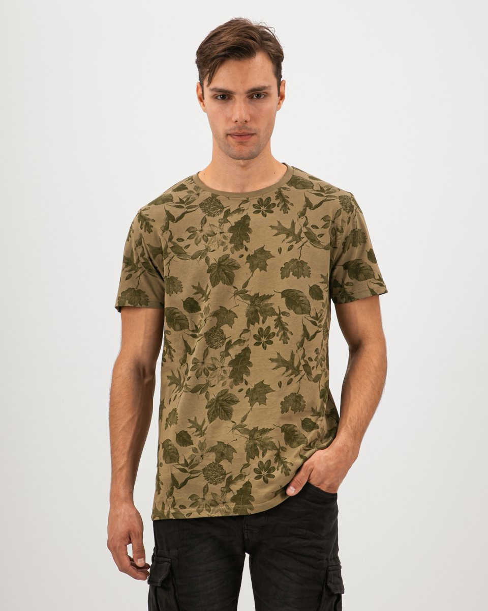 "Picture of Men's Short Sleeve T-Shirt ""All Over Leaves Print"" in Green"
