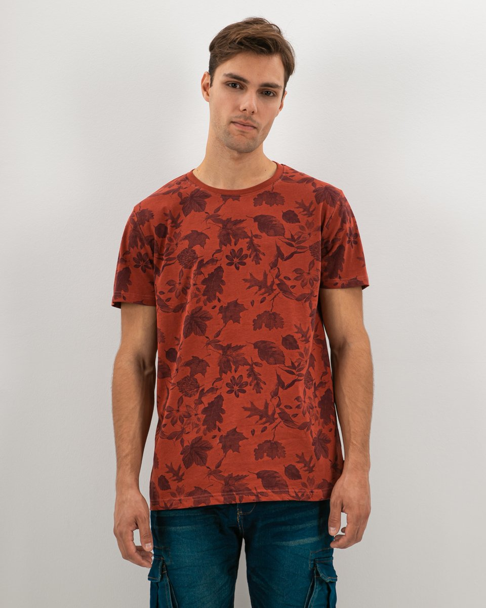 "Picture of Men's Short Sleeve T-Shirt ""All Over Leaves Print"" in Red Dark"