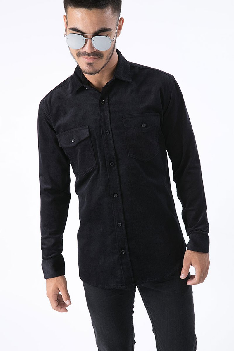 "Picture of Men's Shirt ""Curtis Cord"" Black"