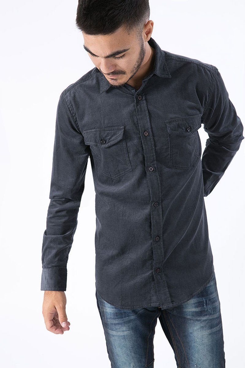 """Picture of Men's Shirt """"Curtis Cord"""" Anthra"""