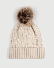 "Picture of Women's Knitted Pompom Hat ""Ora"" in Beige Melange"