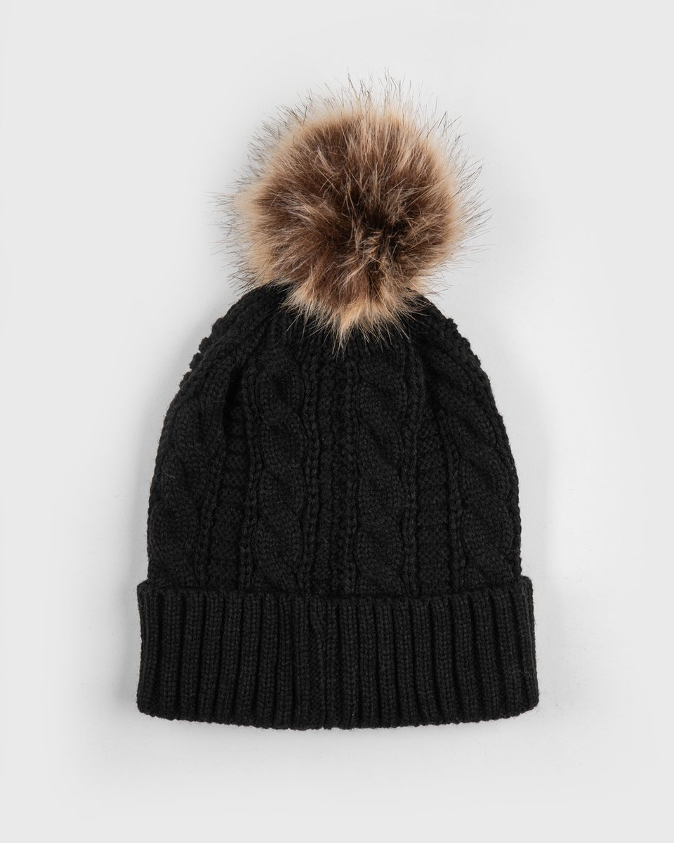 "Picture of Women's Knitted Pompom Hat ""Ora"" in Black"
