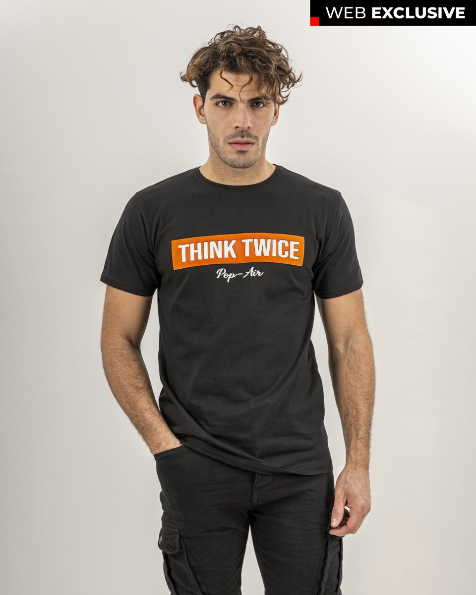 "Picture of Men's T-Shirt ""Think Twice"" in Black"