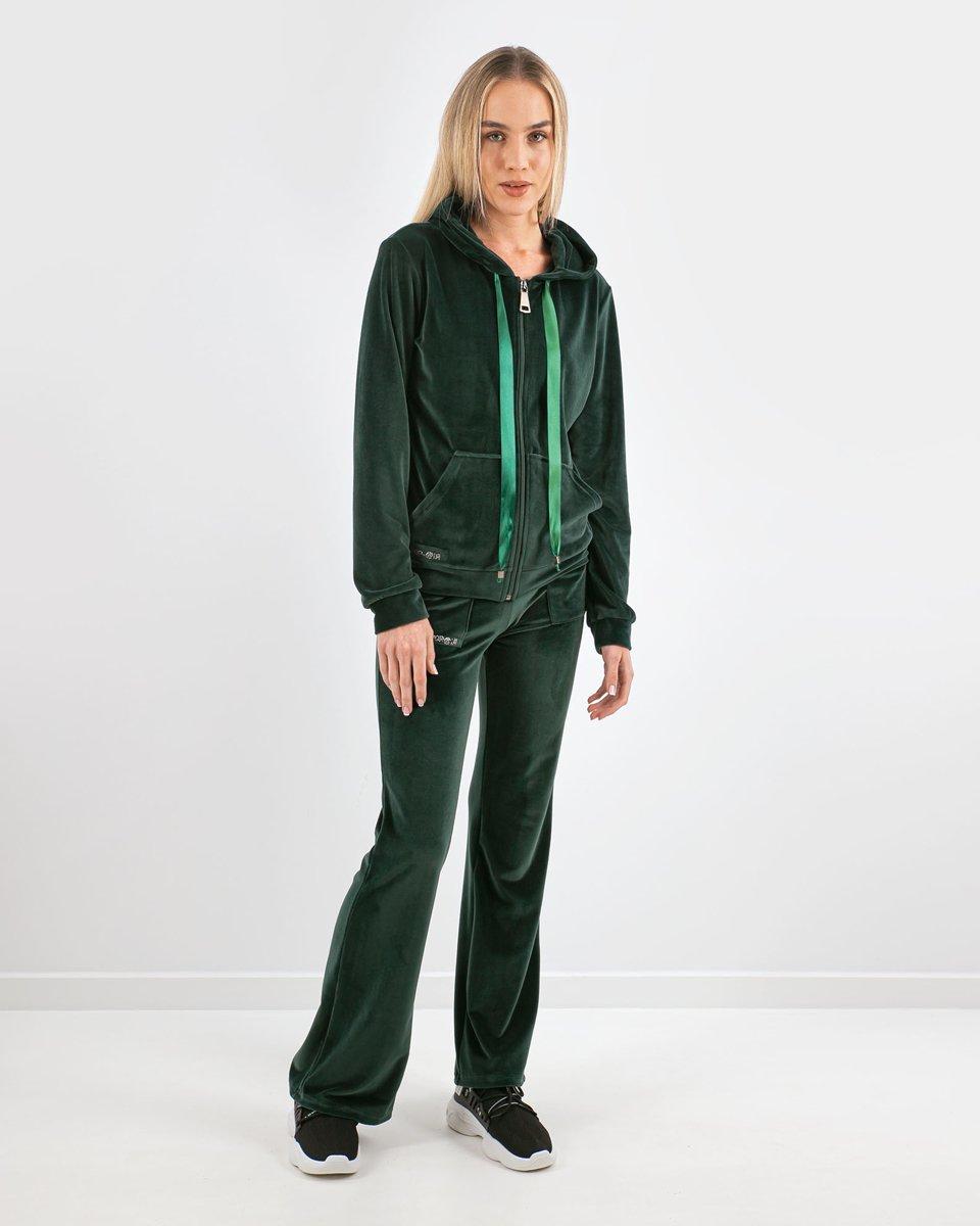 """Γυναικείο Παντελόνι Φόρμας Βελουτέ """"Kalia"""" Πράσινο"""