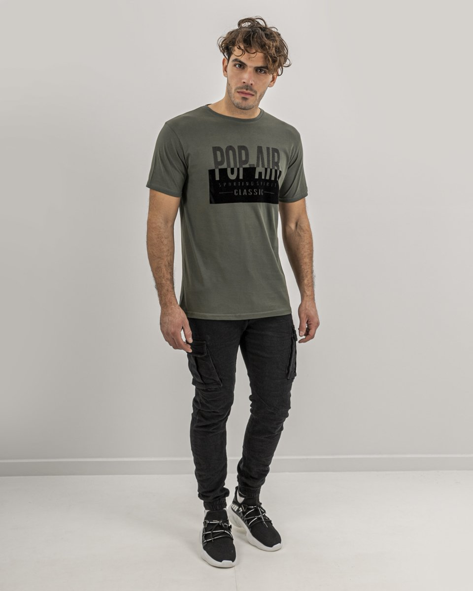 "Picture of Men's T-Shirt ""Sporting Spirit"" in Khaki"
