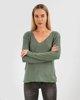 """Γυναικεία Μακρυμάνικη Μπλούζα Πλεκτή """"Zina"""" σε Χρώμα Jade Dark Melange"""