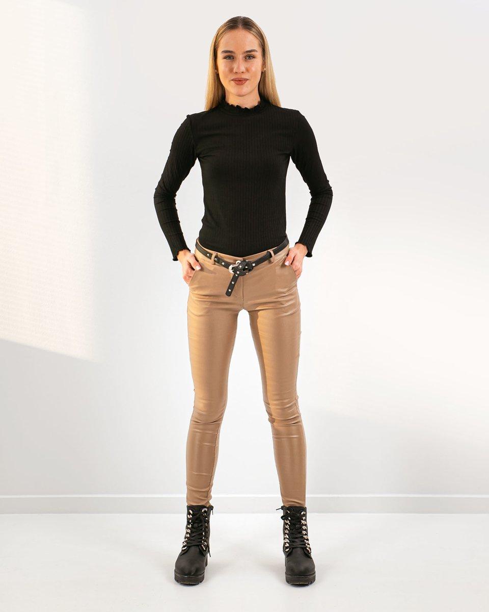 """Γυναικείο Παντελόνι Όψη Δερματίνης """"Mela"""" Μπεζ"""