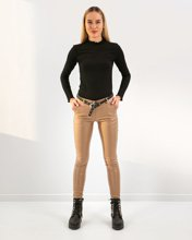 """Picture of Women's Faux Leather Pants """"Mela"""" in Taupe"""