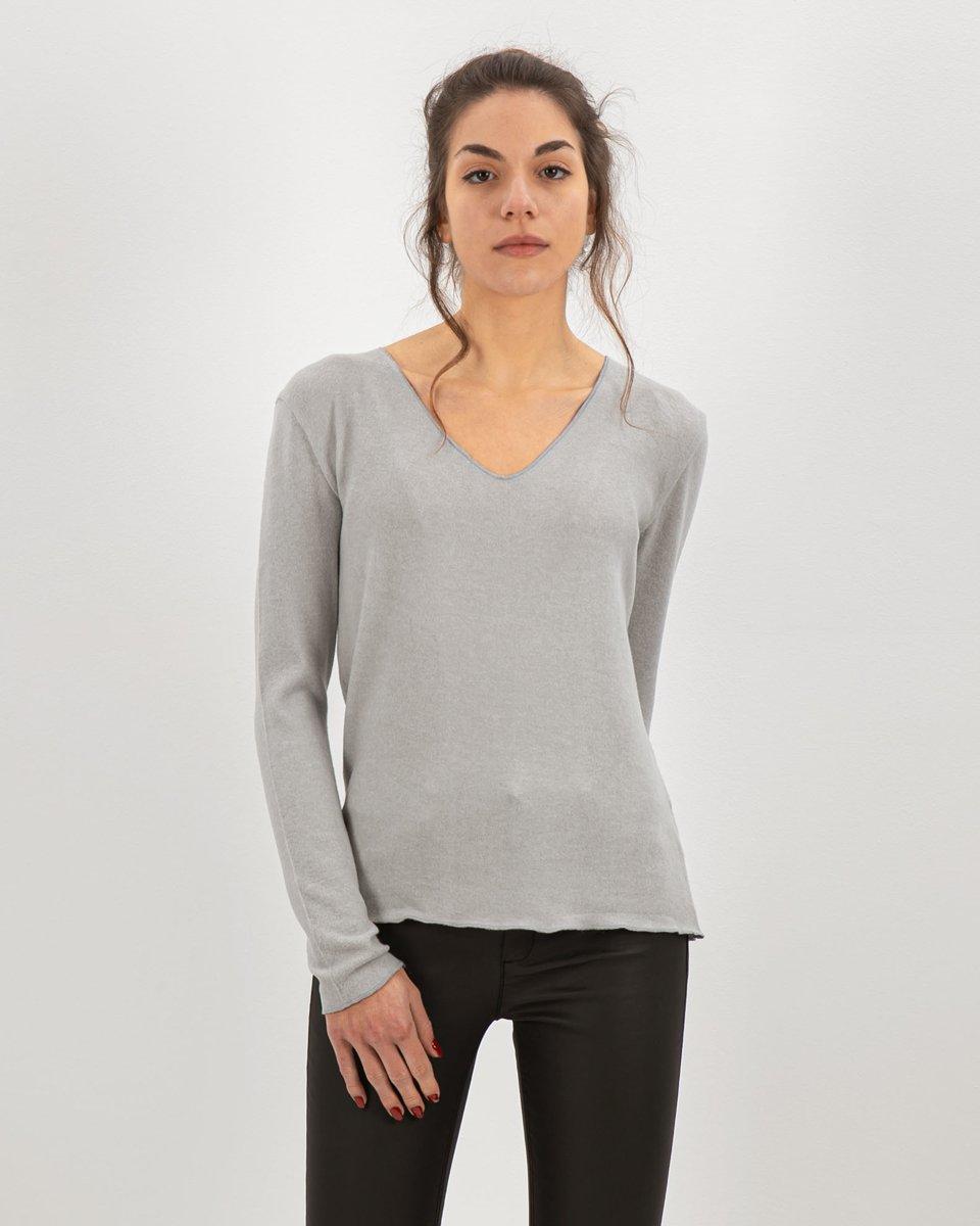 "Picture of Women's V-Neck Knit Sweater ""Zina"" in Grey Light Melange"
