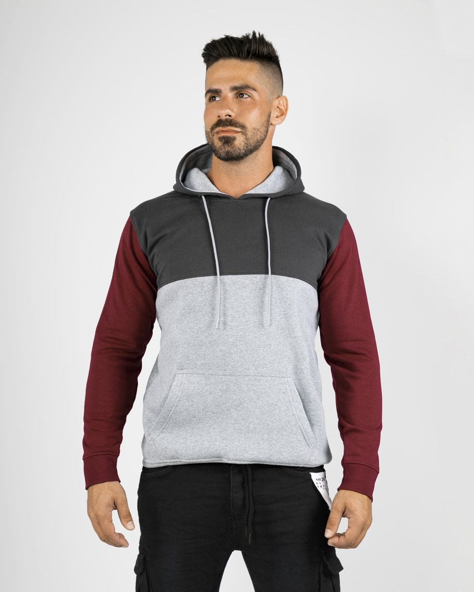 "Picture of Men's Hoodie ""Multi-Coloured"" in Bordeaux"