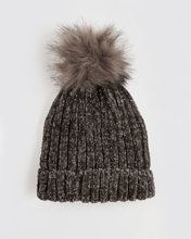 """Picture of Women's Ribbed Knit Hat """"Sandra"""" in Grey Dark"""
