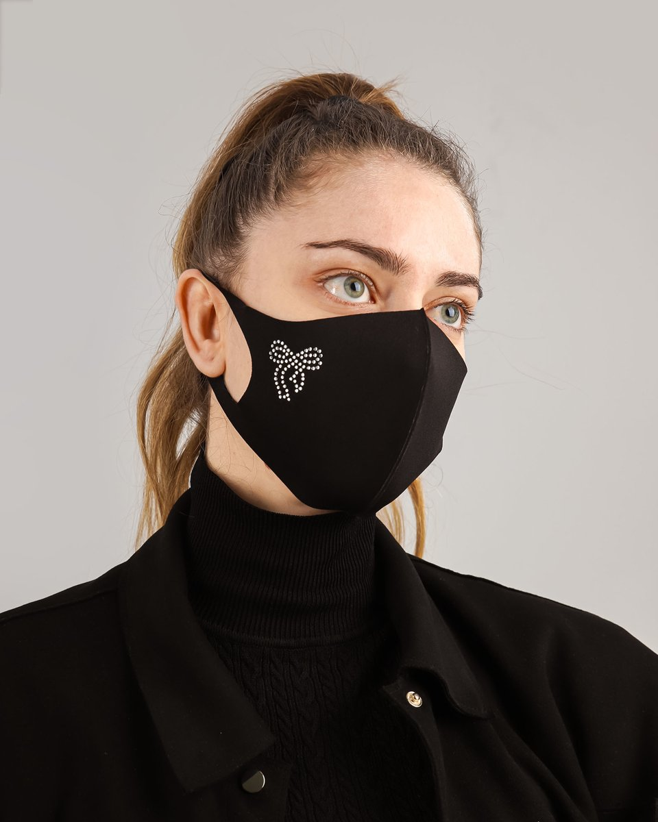 "Picture of Women's Face Mask ""Bow"" in Black"