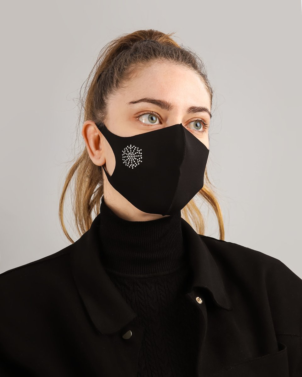 "Picture of Women's Washable Face Mask ""Snow"" in Black"