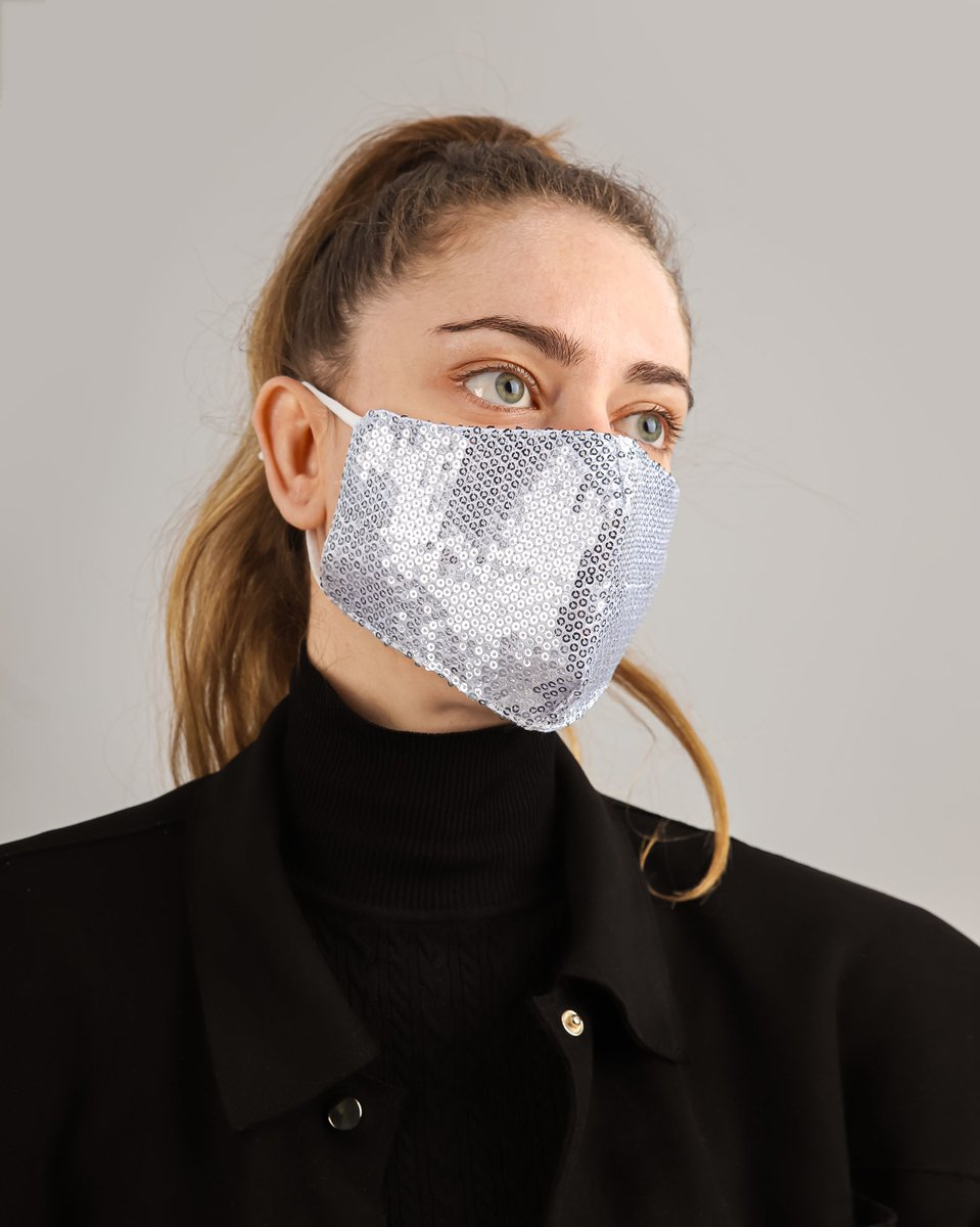 "Picture of Women's Face Mask ""Party"" in Silver"