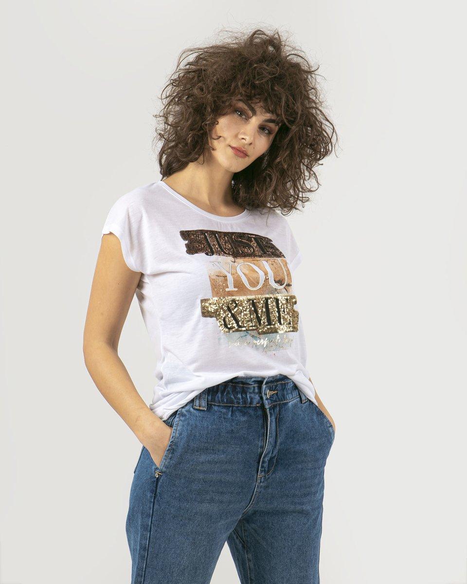 """Γυναικείο Κοντομάνικο T-Shirt """"Kaya"""" Λευκό"""