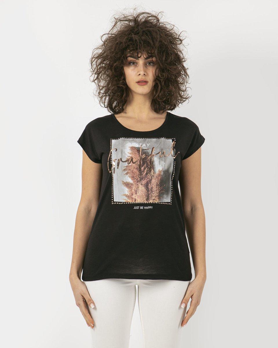 """Γυναικείο Κοντομάνικο T-Shirt """"Lea"""" Μαύρο"""