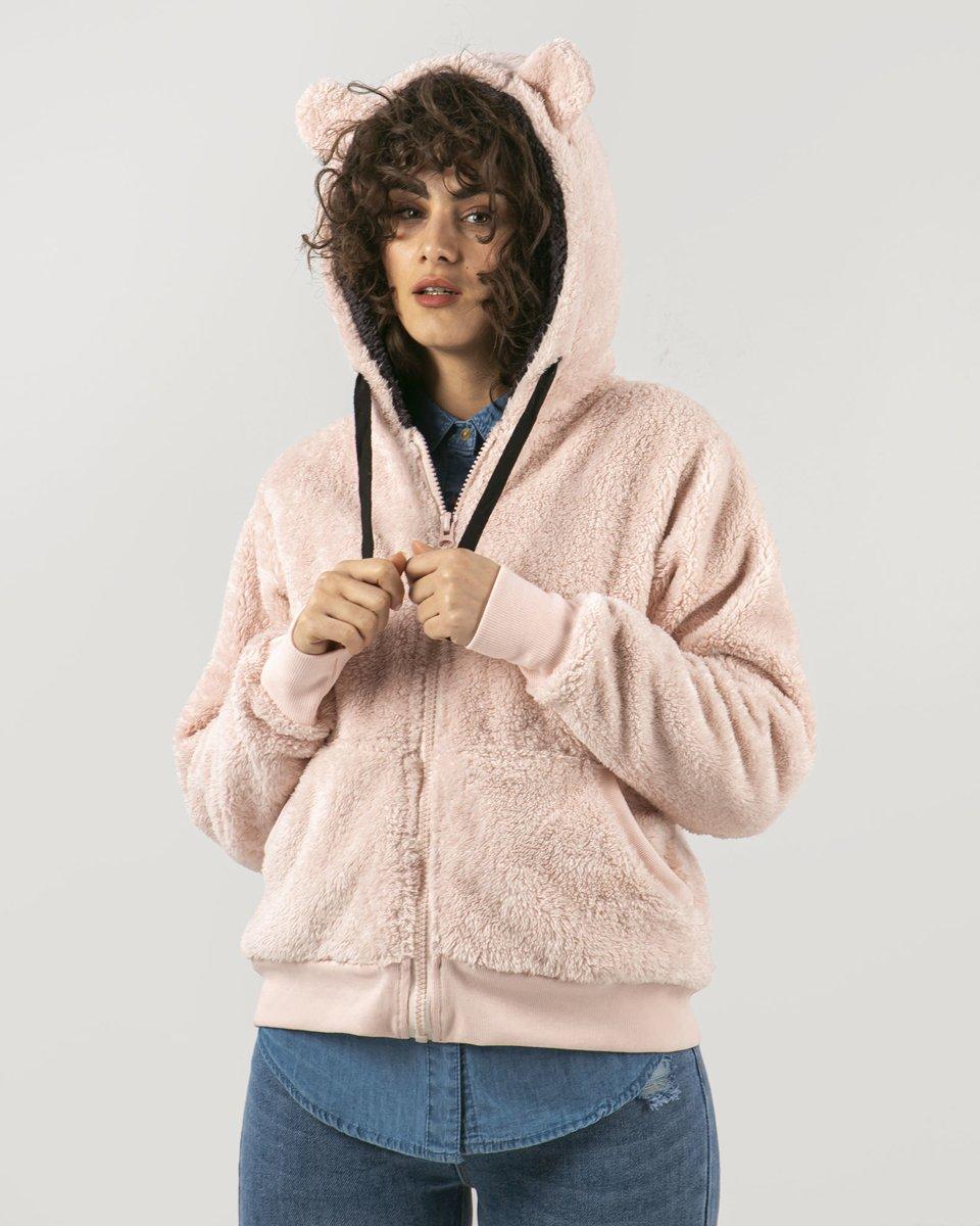 """Γυναικεία Ζακέτα Faux Fur με Φερμουάρ """"Fluffy"""" Ροζ"""