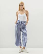 "Picture of Women's Flowing Wide-Leg Trousers ""Cira"" in Blue Light Stripe"