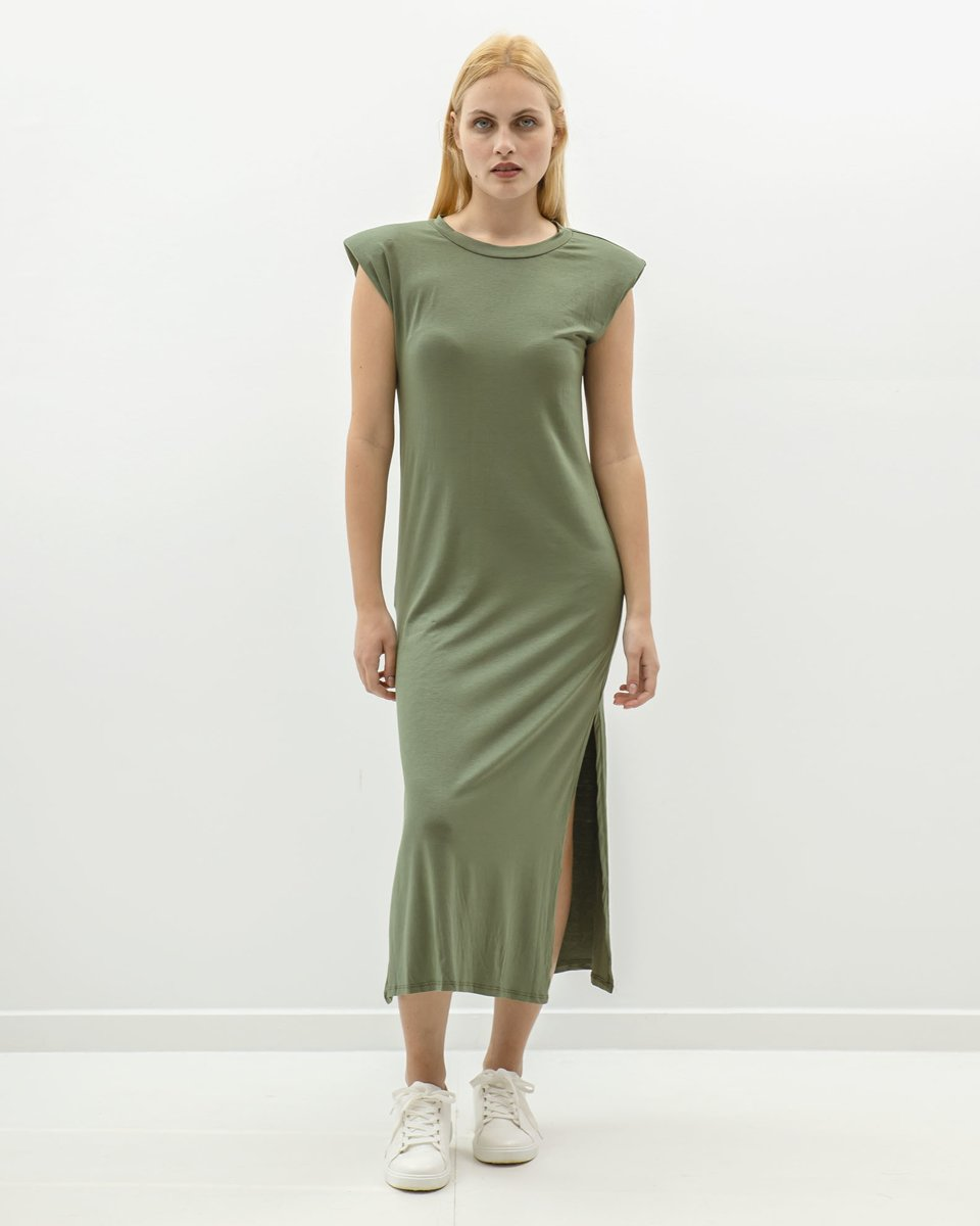 "Picture of Maxi Dress with Shoulder Pads ""Juliana"" in Khaki"