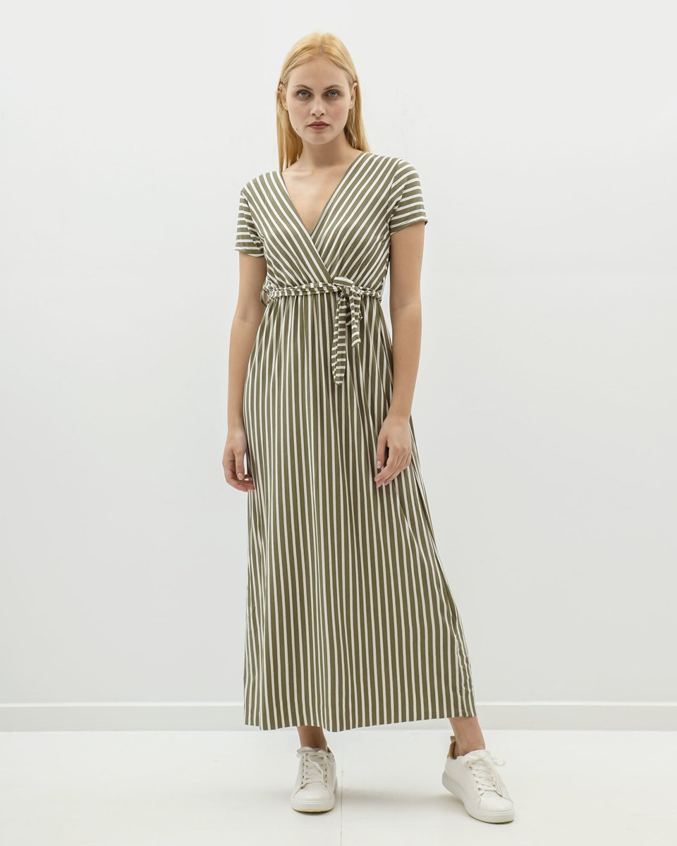 """Picture of Maxi Striped Dress """"Merle"""" in Khaki"""