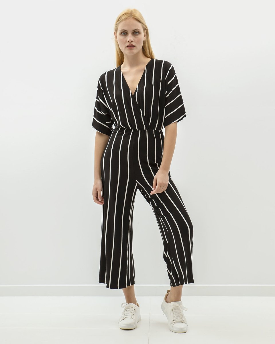 """Picture of Striped Playsuit 3/4 """"Jill"""" in Black"""