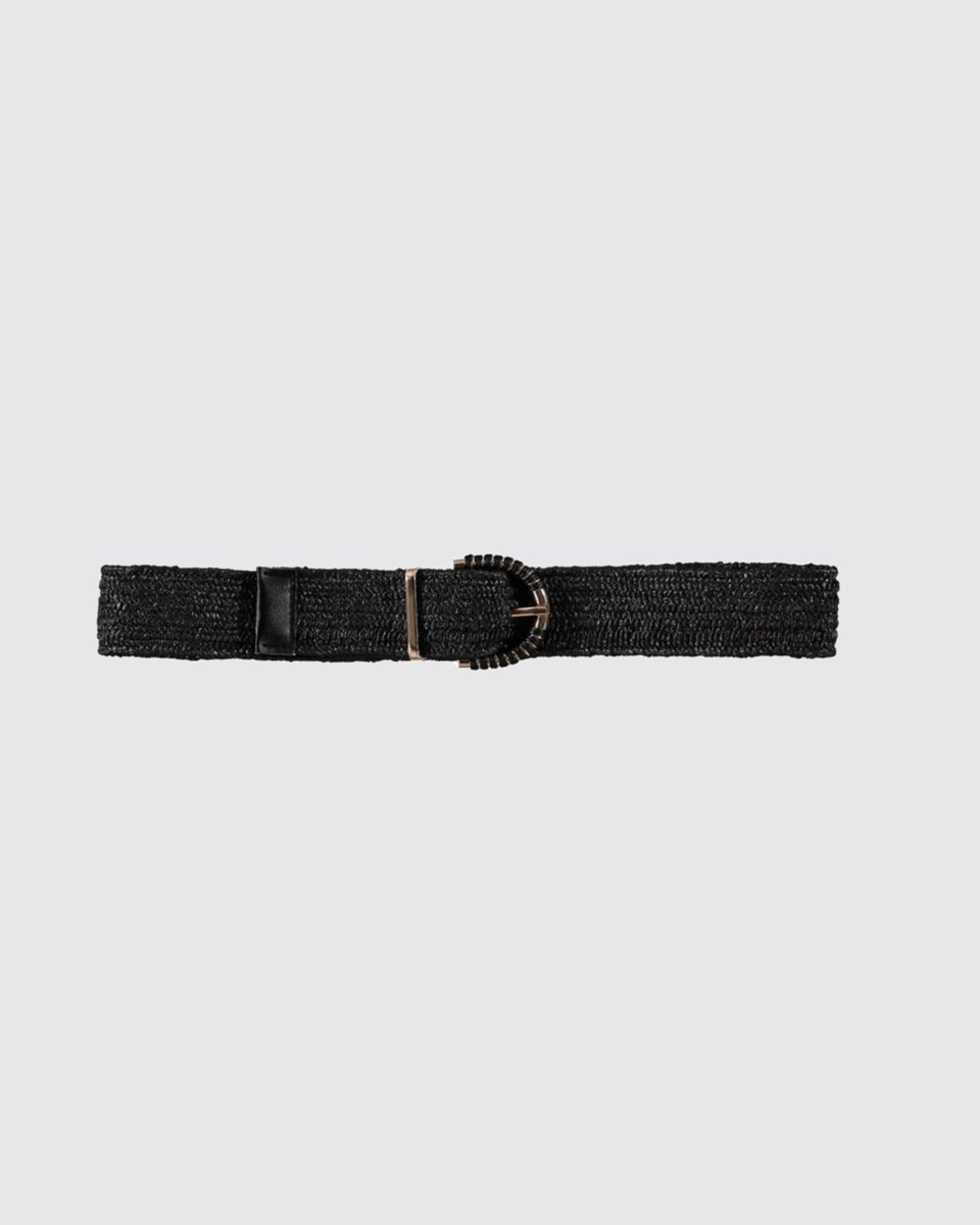 """Picture of Leather Like Belt with Long Buckle """"Ruby"""" Black"""