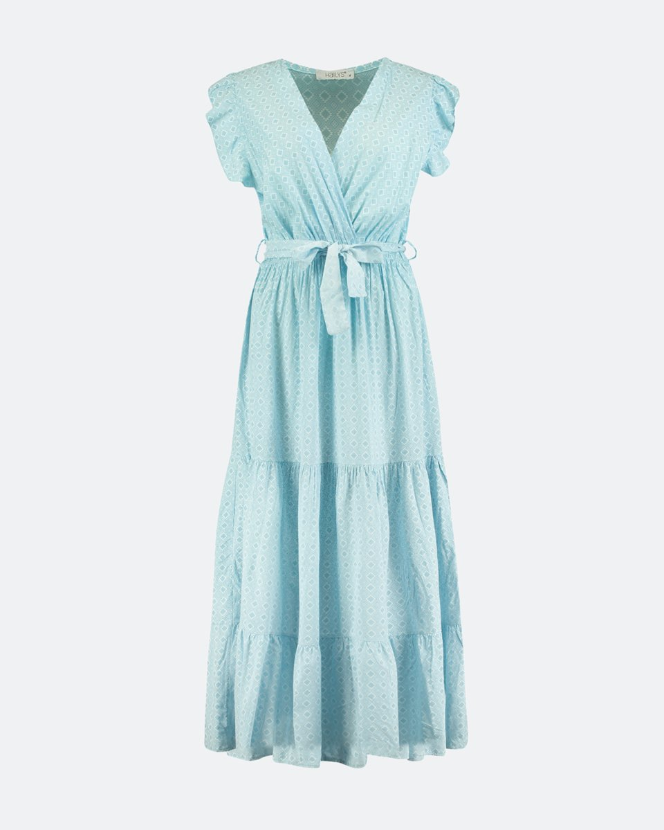"Picture of Crossover Τextured Maxi Dress ""Julia"" in Blue Light"