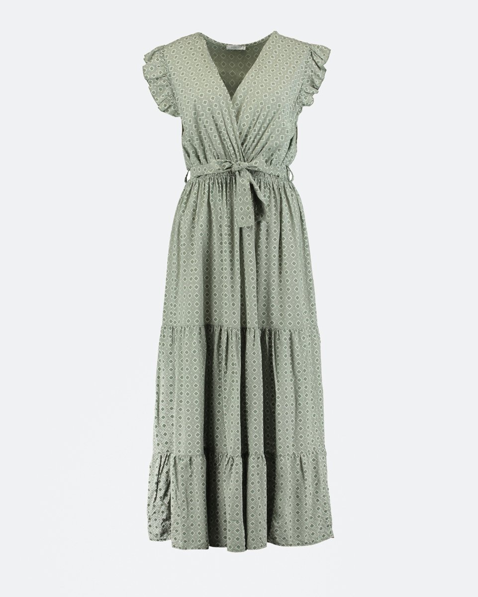 """Picture of Crossover Τextured Maxi Dress """"Julia"""" in Khaki"""