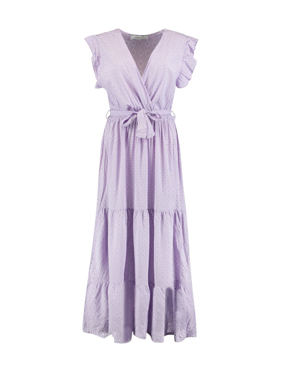 "Picture of Crossover Τextured Maxi Dress ""Julia"" in Lavender"