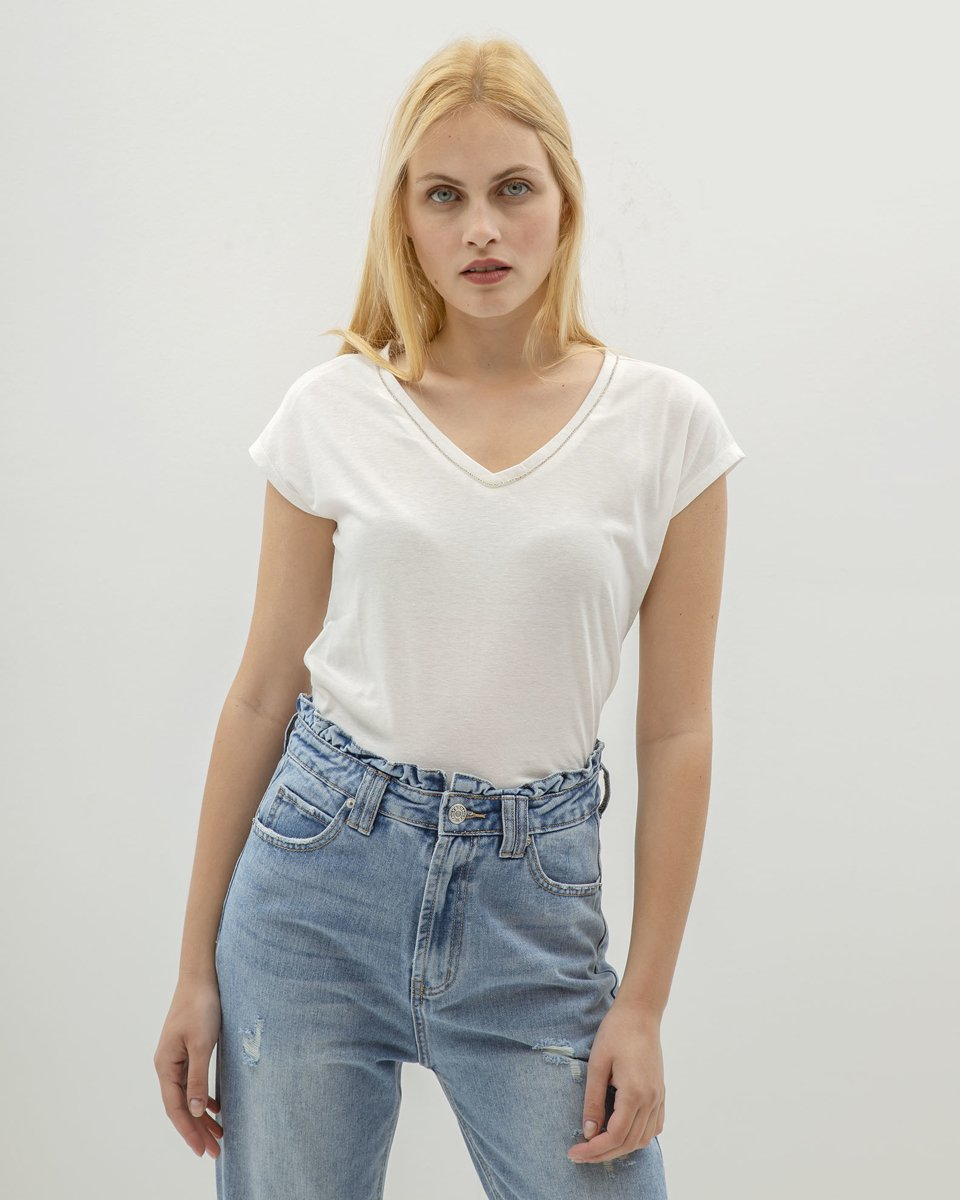 """Picture of Women's Short Sleeve T-Shirt """"Bianca"""" in Off-White"""