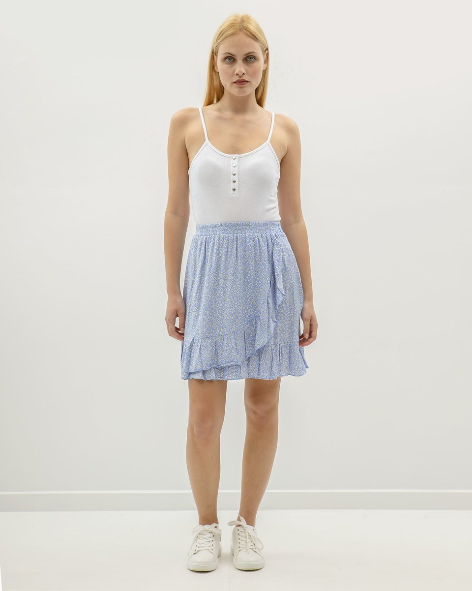 """Μίνι Φούστα """"Kira"""" Φλοράλ σε Χρώμα Ανοιχτό Μπλε"""