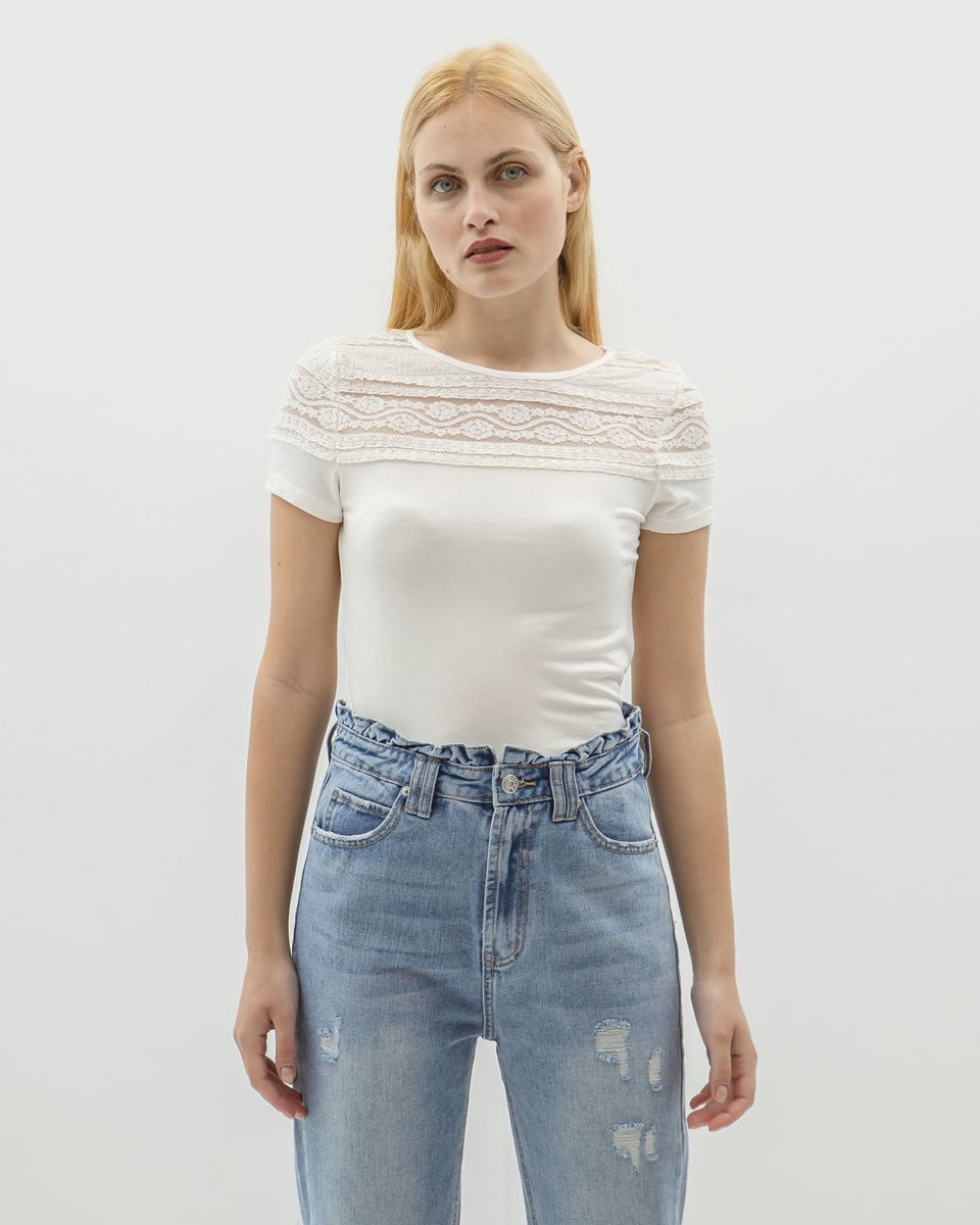 "Picture of Women's Short Sleeve Top ""Sammy"" in Off-White"