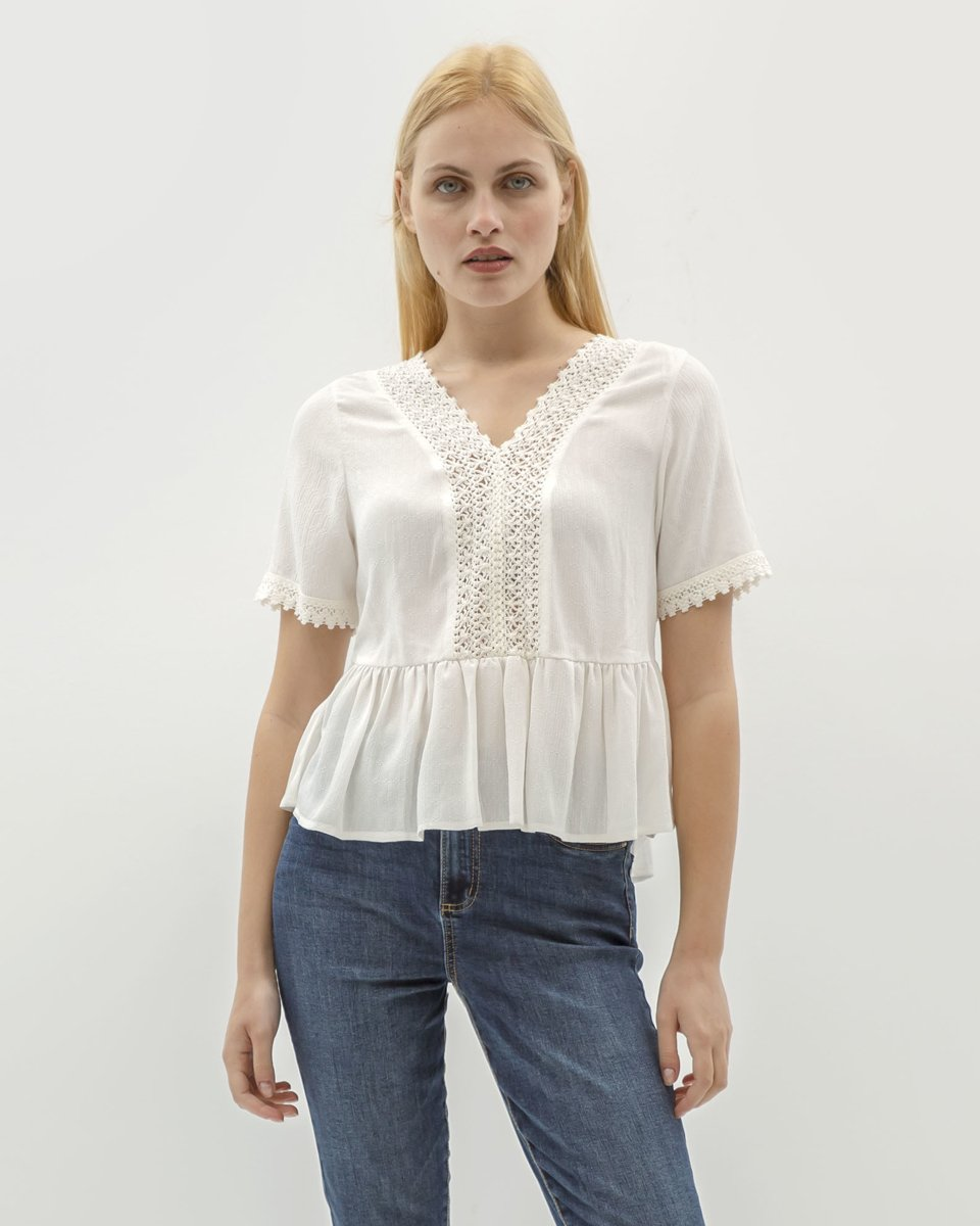 "Picture of Women's Short Sleeve Top ""Jula"" in Off-White"
