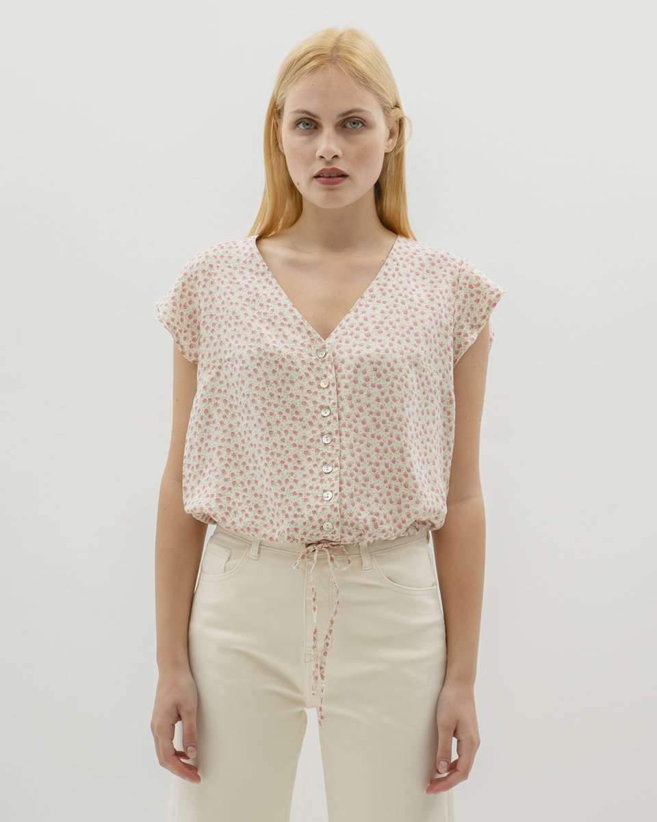 """Picture of Women's Short Sleeve Floral Blouse """"Risa"""" in Off-White"""
