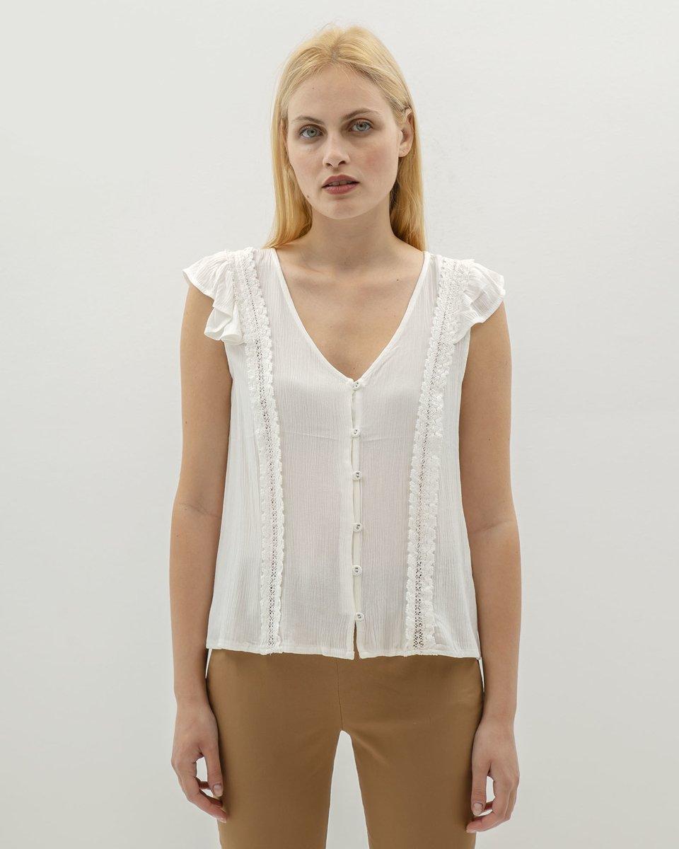 """Γυναικεία Κοντομάνικη Μπλούζα """"Lola"""" Off-white"""