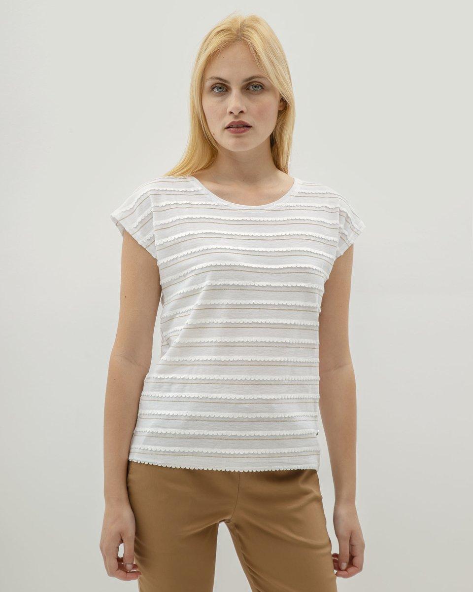 """Γυναικεία Κοντομάνικη Μπλούζα """"Lara"""" Off-White"""