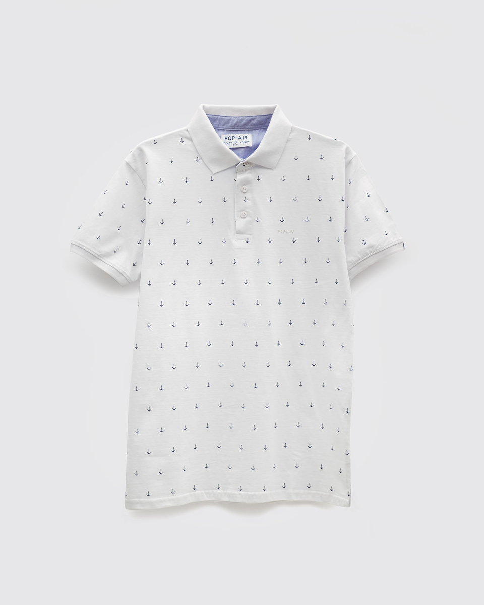 """Ανδρική Μπλούζα Κοντομάνικη Τύπου Πόλο """"Marine"""" Λευκό"""