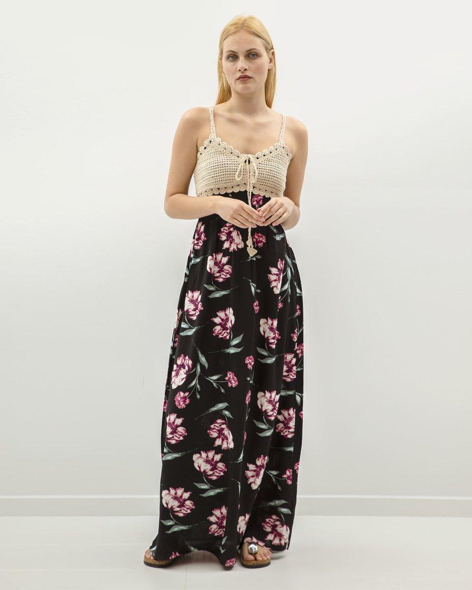 "Picture of Sleeveless Printed Maxi Dress ""Kaja"" in Black"