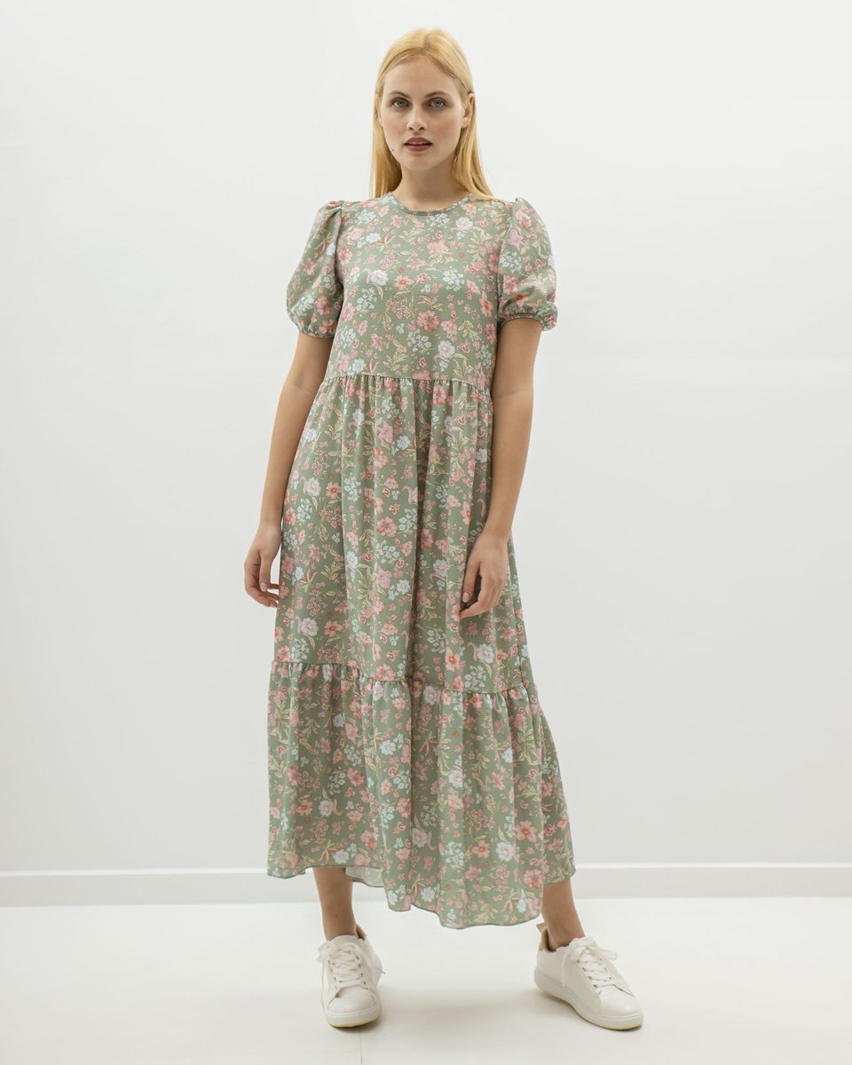 """Picture of Maxi Printed Short Sleeve Dress """"Cassa"""""""