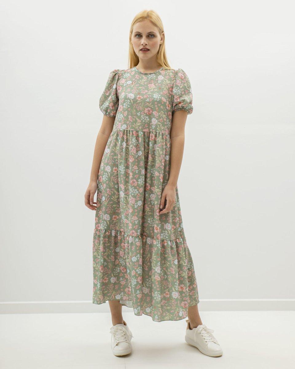 """Φλοράλ Μάξι Φόρεμα Κοντομάνικο """"Cassa"""" Ανοιχτό Πράσινο"""