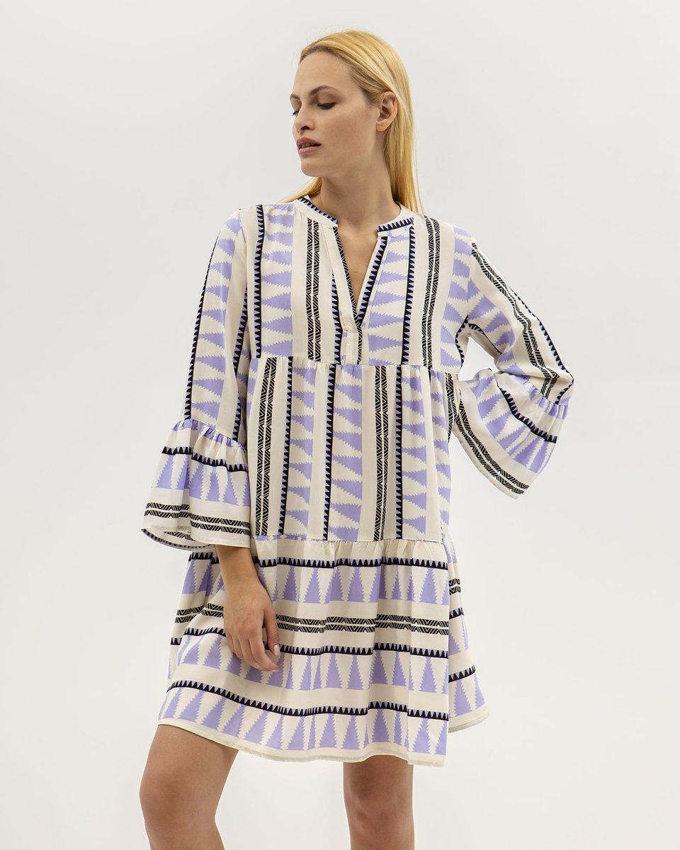 """Picture of Mini Dress 3/4 """"Lilian"""" in Lavender"""
