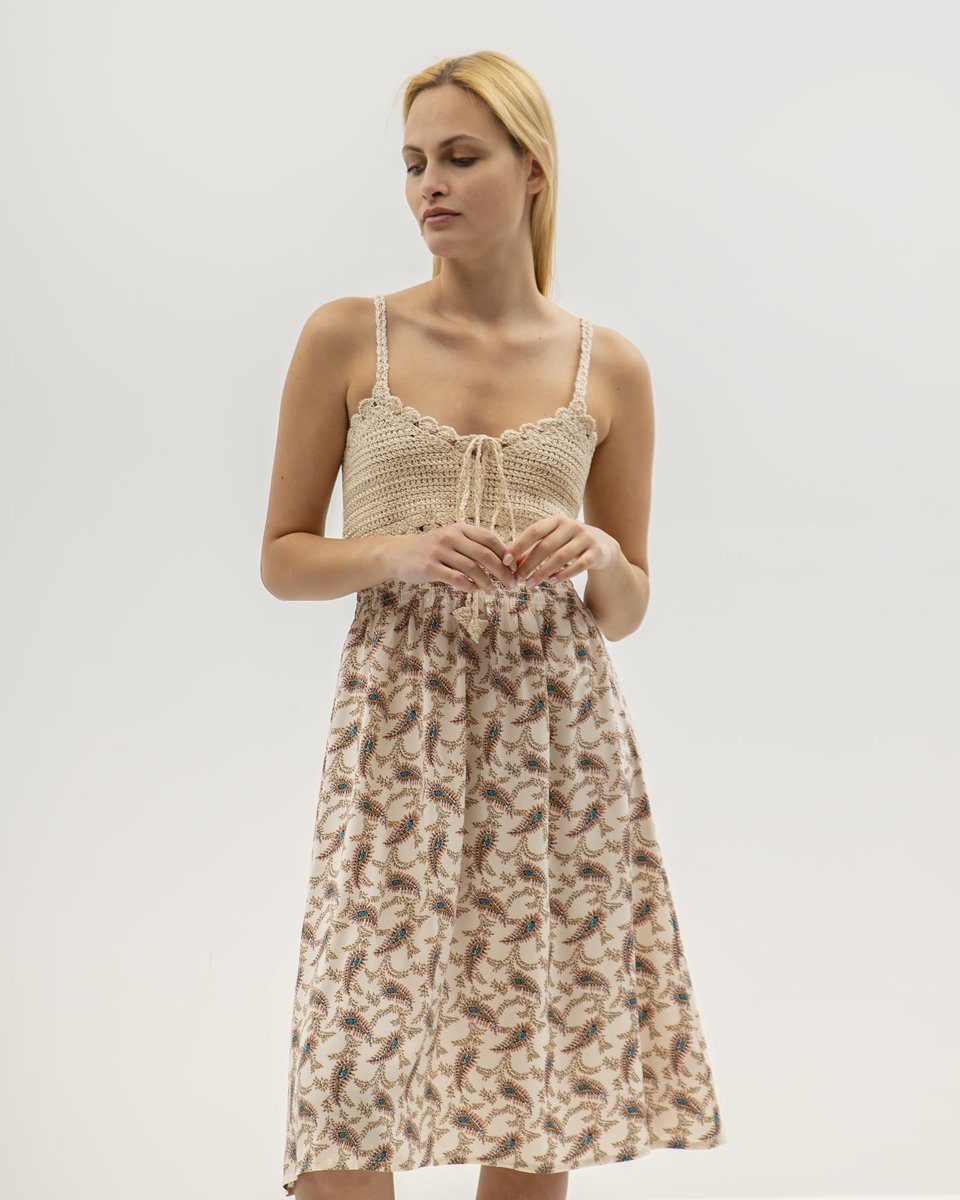 "Picture of Mini Sleeveless Printed Dress ""Kana"" in Off-White"