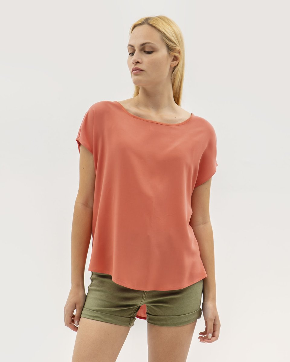 "Picture of Women's Short Sleeve Blouse ""Farina"" in Coral"