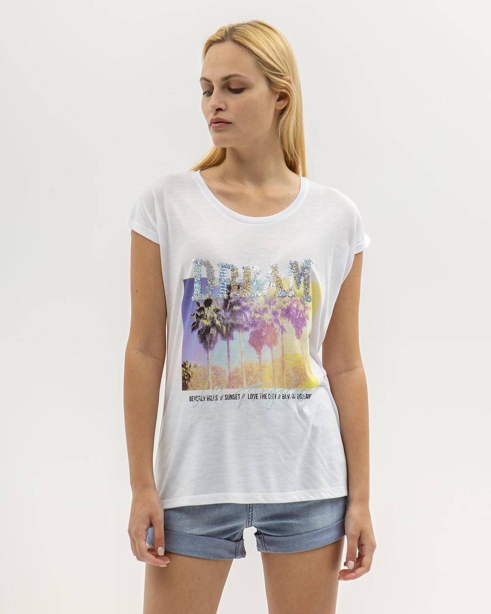 """Γυναικείο Κοντομάνικο T-Shirt """"Sophie"""" Λευκό"""